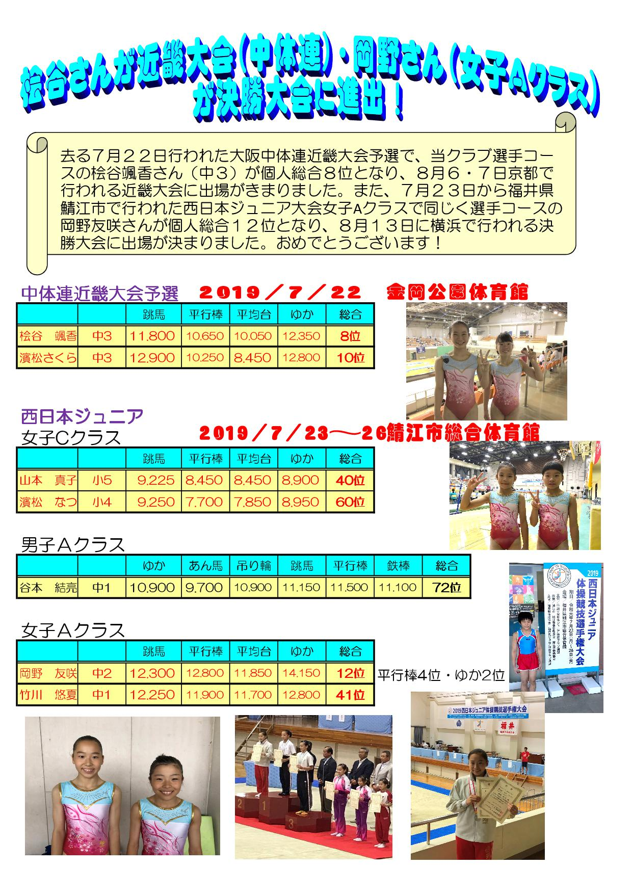 中体連で桧谷颯香さんが近畿大会へ、西日本ジュニアで岡野友咲さんが決勝進出へ!